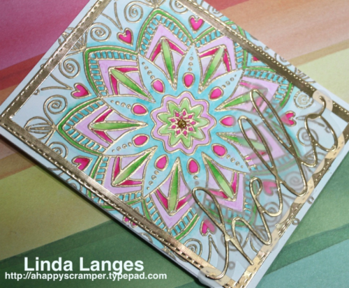 SSS Star Flower Background, Linda Langes, Happy Scramper, gold heat embossing, Tombow Markers