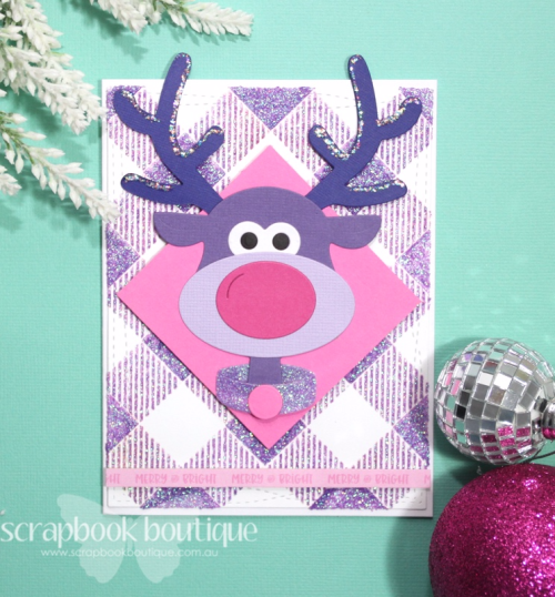 Cheery Lynn Brad the Reindeer Dies; Linda Langes, Scrapbook Boutique, die-cutting; Christmas Card.