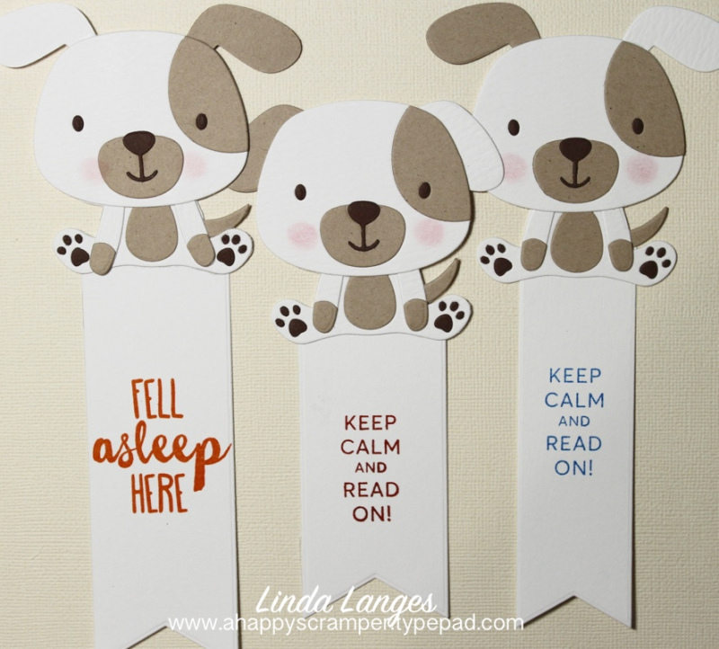 Puppy Love Bookmarks x 3 B&W